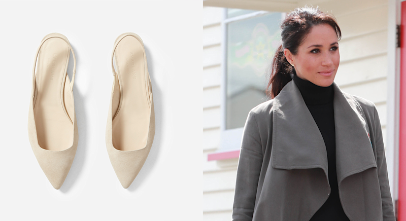 Meghan Markle wore £133 shoes as they family touched down in South Africa [Photo: Everlane/ Getty]
