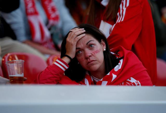 Soccer Football - Liverpool fans watch the Champions League Final - Liverpool, Britain - May 26, 2018 Liverpool fan reacts inside Anfield REUTERS/Andrew Yates TPX IMAGES OF THE DAY