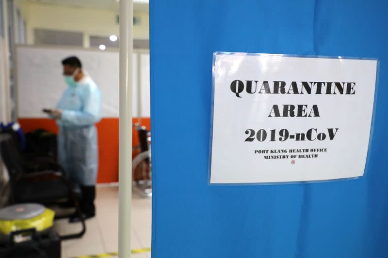 A quarantine area is seen at a cruise ship terminal, following the outbreak of the coronavirus in China, in Port Klang