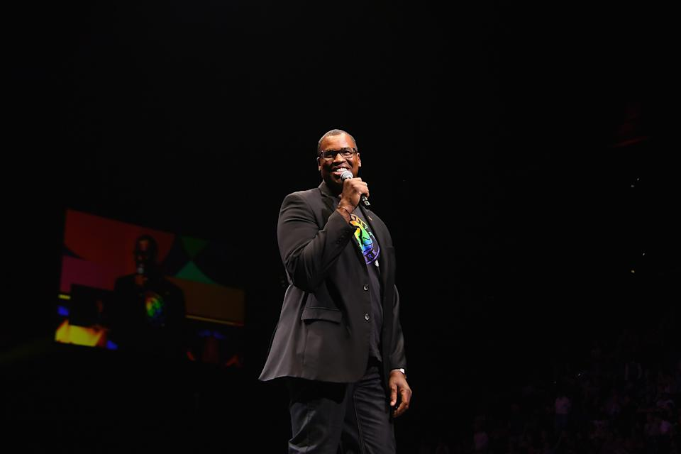 NEW YORK, NEW YORK - JUNE 26: Jason Collins speaks at the WorldPride NYC 2019 Opening Ceremony at Barclays Center on June 26, 2019 in New York City. (Photo by Nicholas Hunt/Getty Images)