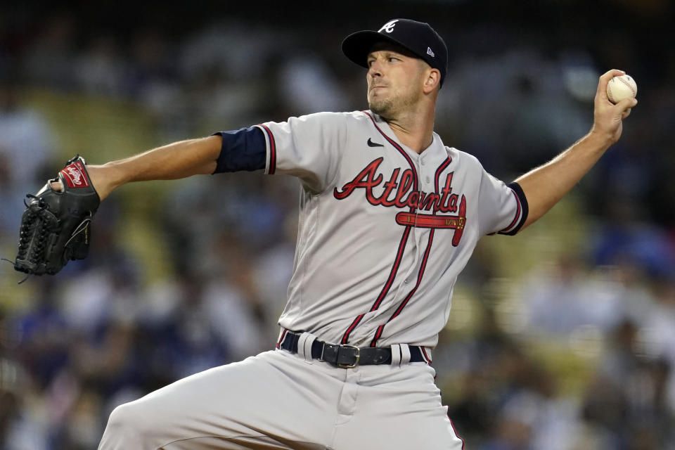 Atlanta Braves starting pitcher Drew Smyly throws during the first inning of a baseball game against the Los Angeles Dodgers, Monday, Aug. 30, 2021, in Los Angeles. (AP Photo/Marcio Jose Sanchez)