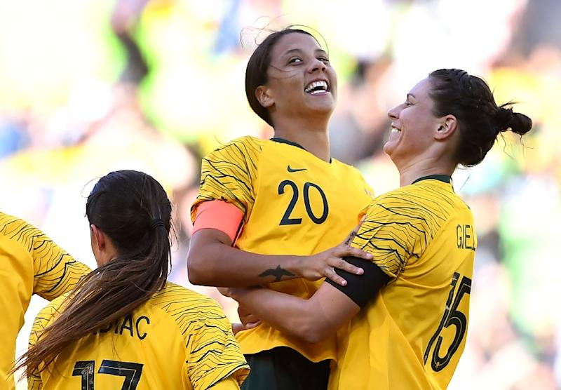 Sam Kerr celebrates after scoring for Australia in the Cup of Nations against Argentina in March