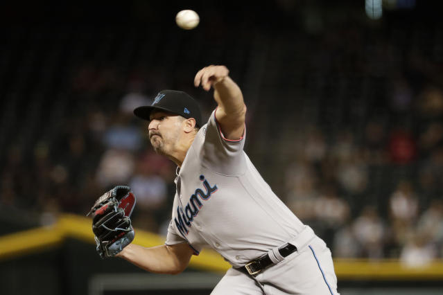 Miami Marlins starting pitcher Caleb Smith throws to an Arizona Diamondbacks during the first inning of a baseball game Tuesday, Sept. 17, 2019, in Phoenix. (AP Photo/Matt York)