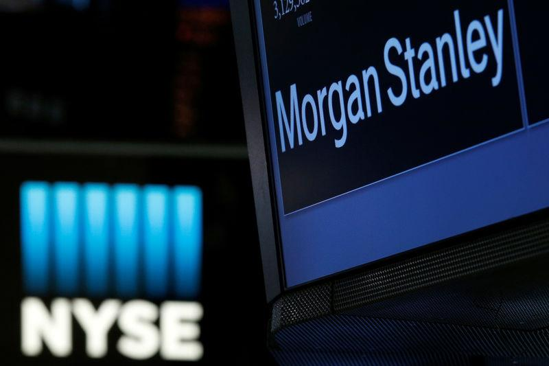 The Morgan Stanley logo is displayed at the post where it is traded on the floor of the NYSE in New York