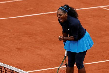 FILE PHOTO: Tennis - French Open Womens Singles Semifinal match - Roland Garros - Serena Williams of the U.S. vs Kiki Bertens of the Netherlands - Paris, France - 03/06/16. Serena Williams reacts. REUTERS/Benoit Tessier Picture Supplied by Action Images/File Photo