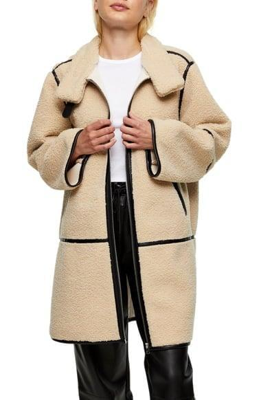 <p>This eye-catching <span>Topshop Fearne Coat</span> ($135) will make you look elegant and cozy.</p>