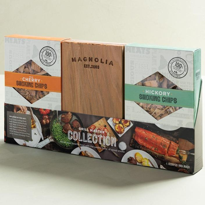 """This gift set includes two varieties of smoking chips—cherry and hickory—and five grilling planks, each with its own all-natural flavor.<br> $34, Magnolia. <a href=""""https://shop.magnolia.com/collections/fathers-day/products/magnolia-grill-master-collection-set"""" rel=""""nofollow noopener"""" target=""""_blank"""" data-ylk=""""slk:Buy Now"""" class=""""link rapid-noclick-resp"""">Buy Now</a><br>"""