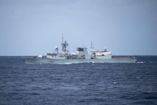 HMCS Halifax taking part on NATO Exercise Steadfast Defender in waters off Portugal in mid-May, 2021.
