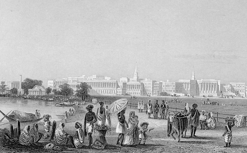 Drawing entitled 'View of Calcutta from the Esplanade,' Calcutta, India, 1850s. (Photo by Hulton Archive/Getty Images)