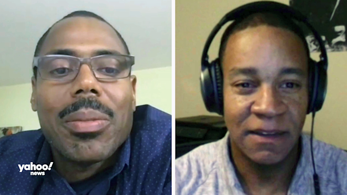 Shaun Gabbidon, professor of criminal justice at Penn State Harrisburg, left, and Ojmarrh Mitchell, associate professor of criminology and criminal justice at Arizona State University. (Screenshots: Yahoo News)