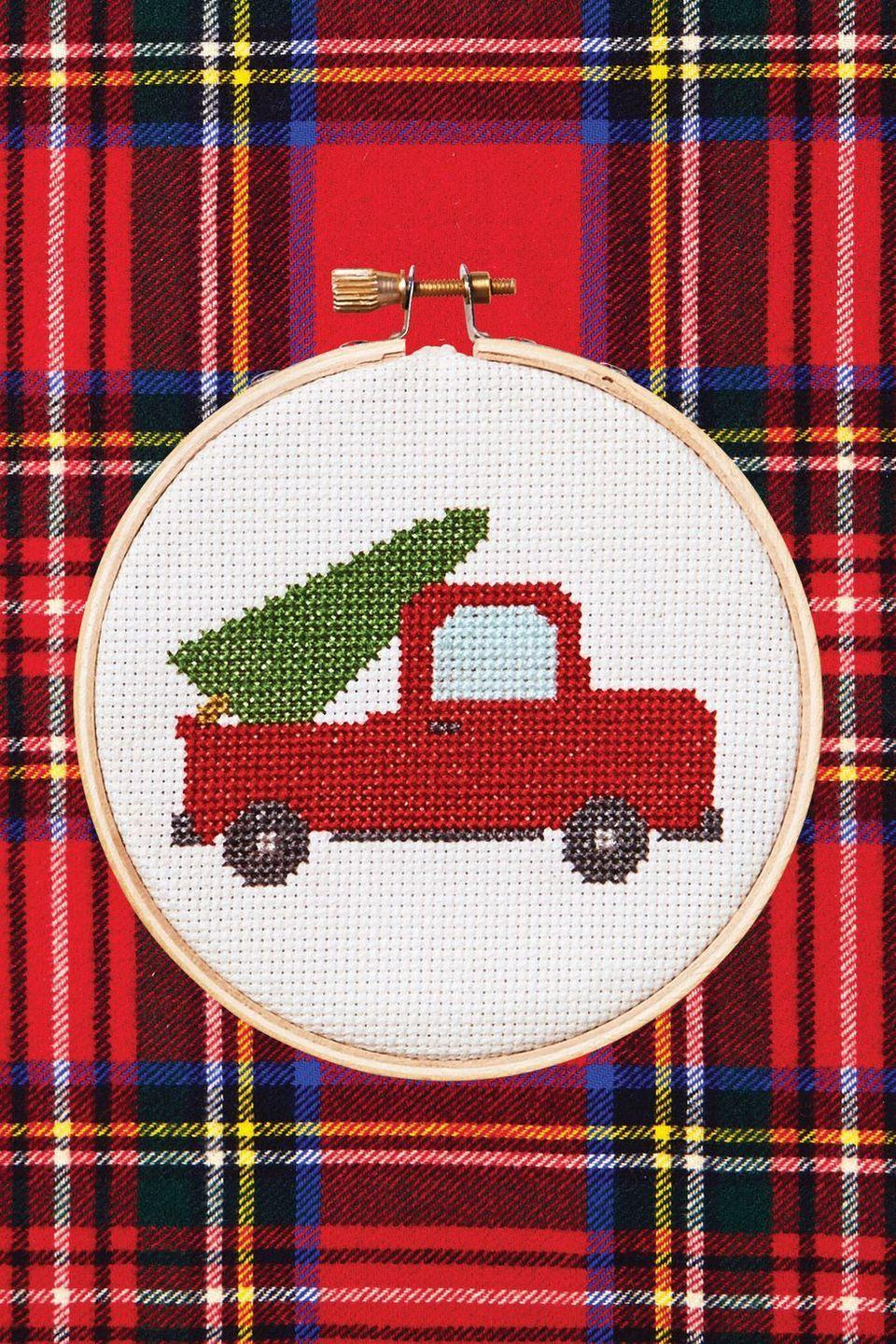 """<p>If you're handy with a needle and thread, stitch a super-cute Christmas motif that your loved one can display year after year.<a href=""""https://www.countryliving.com/diy-crafts/a6380/cross-stitch/"""" rel=""""nofollow noopener"""" target=""""_blank"""" data-ylk=""""slk:"""" class=""""link rapid-noclick-resp""""><strong><br></strong></a></p><p><strong><a href=""""https://www.countryliving.com/diy-crafts/a6380/cross-stitch/"""" rel=""""nofollow noopener"""" target=""""_blank"""" data-ylk=""""slk:Get the pattern"""" class=""""link rapid-noclick-resp"""">Get the pattern</a>.</strong><br></p><p><a class=""""link rapid-noclick-resp"""" href=""""https://www.amazon.com/Best-Sellers-Arts-Crafts-Sewing-Embroidery-Hoops/zgbs/arts-crafts/262621011?tag=syn-yahoo-20&ascsubtag=%5Bartid%7C10050.g.645%5Bsrc%7Cyahoo-us"""" rel=""""nofollow noopener"""" target=""""_blank"""" data-ylk=""""slk:SHOP EMBROIDERY HOOPS"""">SHOP EMBROIDERY HOOPS</a></p>"""