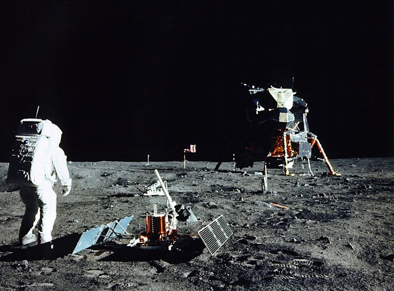Buzz Aldrin stands near a scientific experiment on the lunar surface. (Photo by NASA/Newsmakers)