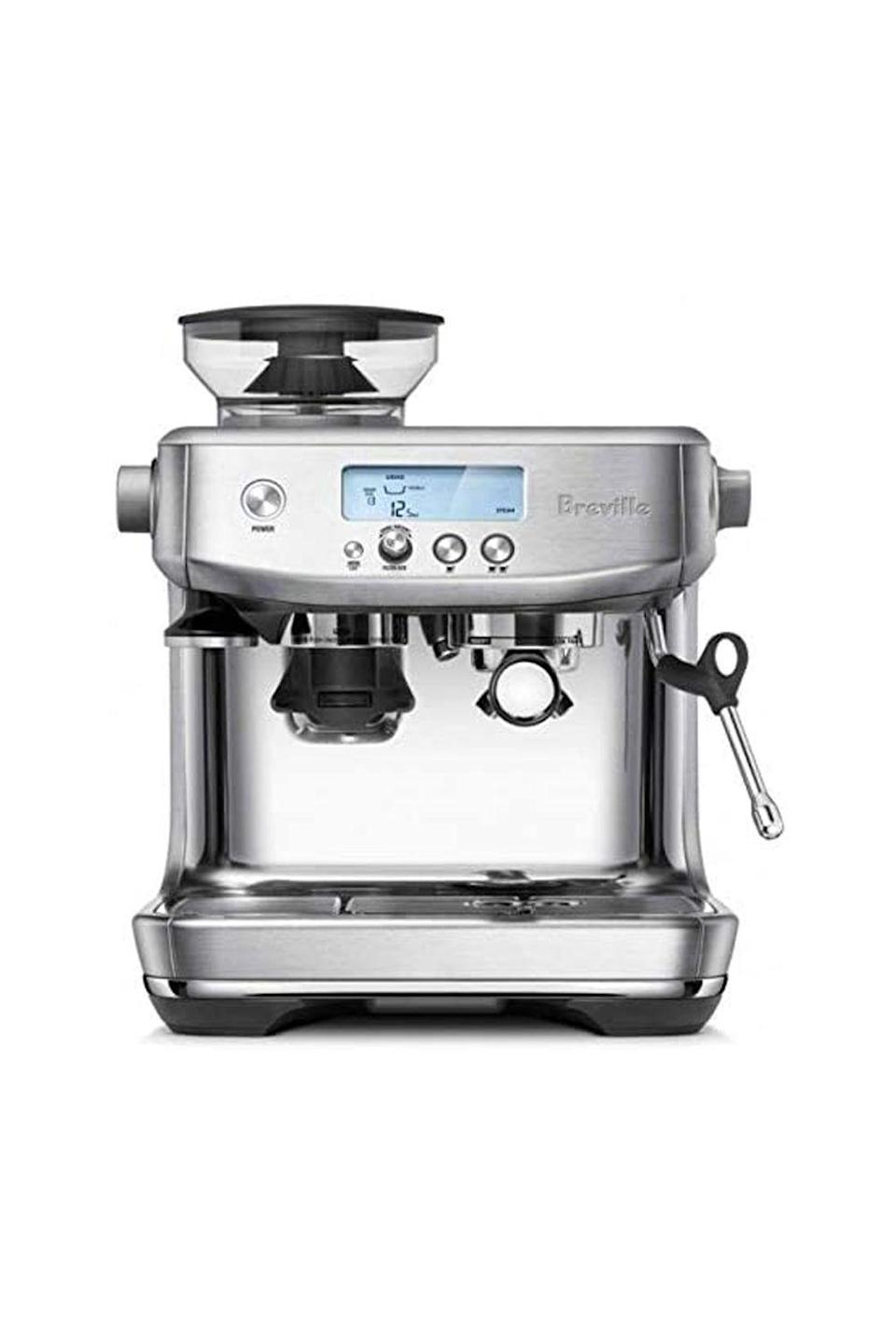 """<p><strong>Breville</strong></p><p>amazon.com</p><p><strong>$794.00</strong></p><p><a href=""""https://www.amazon.com/dp/B08133HX34?tag=syn-yahoo-20&ascsubtag=%5Bartid%7C10050.g.34621820%5Bsrc%7Cyahoo-us"""" rel=""""nofollow noopener"""" target=""""_blank"""" data-ylk=""""slk:Shop Now"""" class=""""link rapid-noclick-resp"""">Shop Now</a></p><p>This espresso machine comes with some serious bells and whistles—think temperature-controlled espresso extraction, an intuitive LED display, and a steam wand that makes creating custom latte art a cinch. Their kitchen will transform into a gourmet coffeehouse overnight.</p>"""