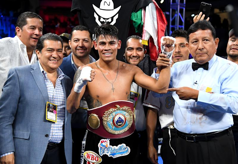 LOS ANGELES, CA - AUGUST 17: Emanuel Navarrete in the ring after defeating Francisco De Vaca (not pictured) in their WBO World Title fight at Banc of California Stadium on August 17, 2019 in Los Angeles, California. Navarrete won by knockout. (Photo by Jayne Kamin-Oncea/Getty Images)