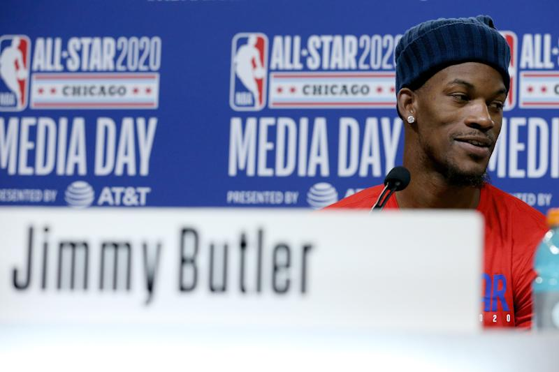 CHICAGO, ILLINOIS - FEBRUARY 15: Jimmy Butler of the Miami Heat speaks to the media during 2020 NBA All-Star - Practice & Media Day at Wintrust Arena on February 15, 2020 in Chicago, Illinois. NOTE TO USER: User expressly acknowledges and agrees that, by downloading and or using this photograph, User is consenting to the terms and conditions of the Getty Images License Agreement. (Photo by Dylan Buell/Getty images)