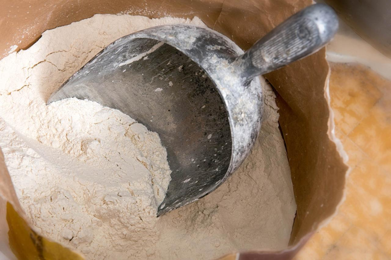 """<p>The paper bag your flour came in could rip and let bugs in. Transfer your flour to an airtight container like a large jar or plastic box, suggests Susan Reid, chef and editor with King Arthur Flour. """"Square containers take up 25% less space than round ones, so if you wish your freezer was 25% bigger, start saving those square plastic containers from your last takeout meal!"""" she told <a rel=""""nofollow"""" href=""""http://www.thekitchn.com/a-complete-guide-to-storing-your-flour-204729"""">The Kitchn</a>.</p>"""