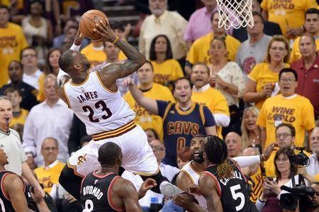 May 25, 2016; Cleveland, OH, USA; Cleveland Cavaliers forward LeBron James (23) shoots during the second quarter in game five of the Eastern conference finals of the NBA Playoffs at Quicken Loans Arena. Mandatory Credit: Ken Blaze-USA TODAY Sports