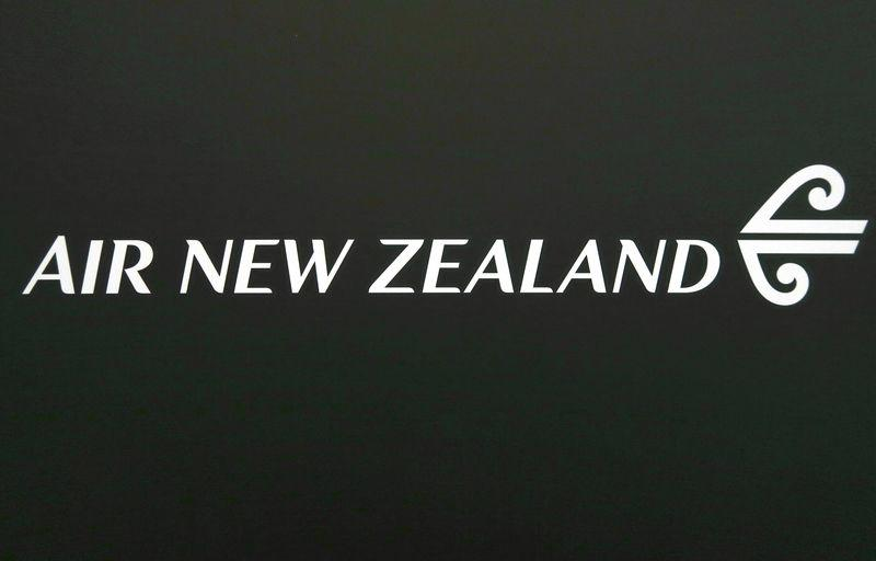 The logo for Air New Zealand is displayed at their office located at Sydney International Airport, Australia