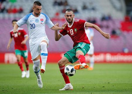 Soccer Football - International Friendly - Morocco vs Slovakia - Stade de Geneve, Geneva, Switzerland - June 4, 2018 Morocco's Khalid Boutaib in action with Slovakia's Robert Mak REUTERS/Denis Balibouse