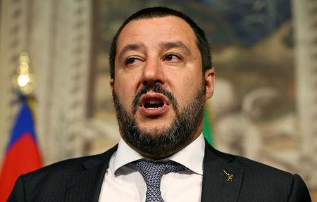 Matteo Salvini speaks to the media during the second day of consultations with Italian President Sergio Mattarella at the Quirinal Palace in Rome