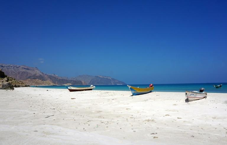 Fishing boats at the village of Qaban, on the far west of the Yemeni island of Socotra