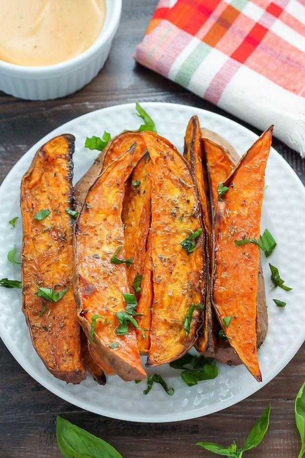 """<p>This delicious recipe dresses up fries so that they're feast-worthy.</p><p><strong>Get the recipe at <a href=""""http://bakerbynature.com/extra-crispy-sweet-potato-wedges/"""" rel=""""nofollow noopener"""" target=""""_blank"""" data-ylk=""""slk:Baker By Nature"""" class=""""link rapid-noclick-resp"""">Baker By Nature</a>.</strong> </p>"""