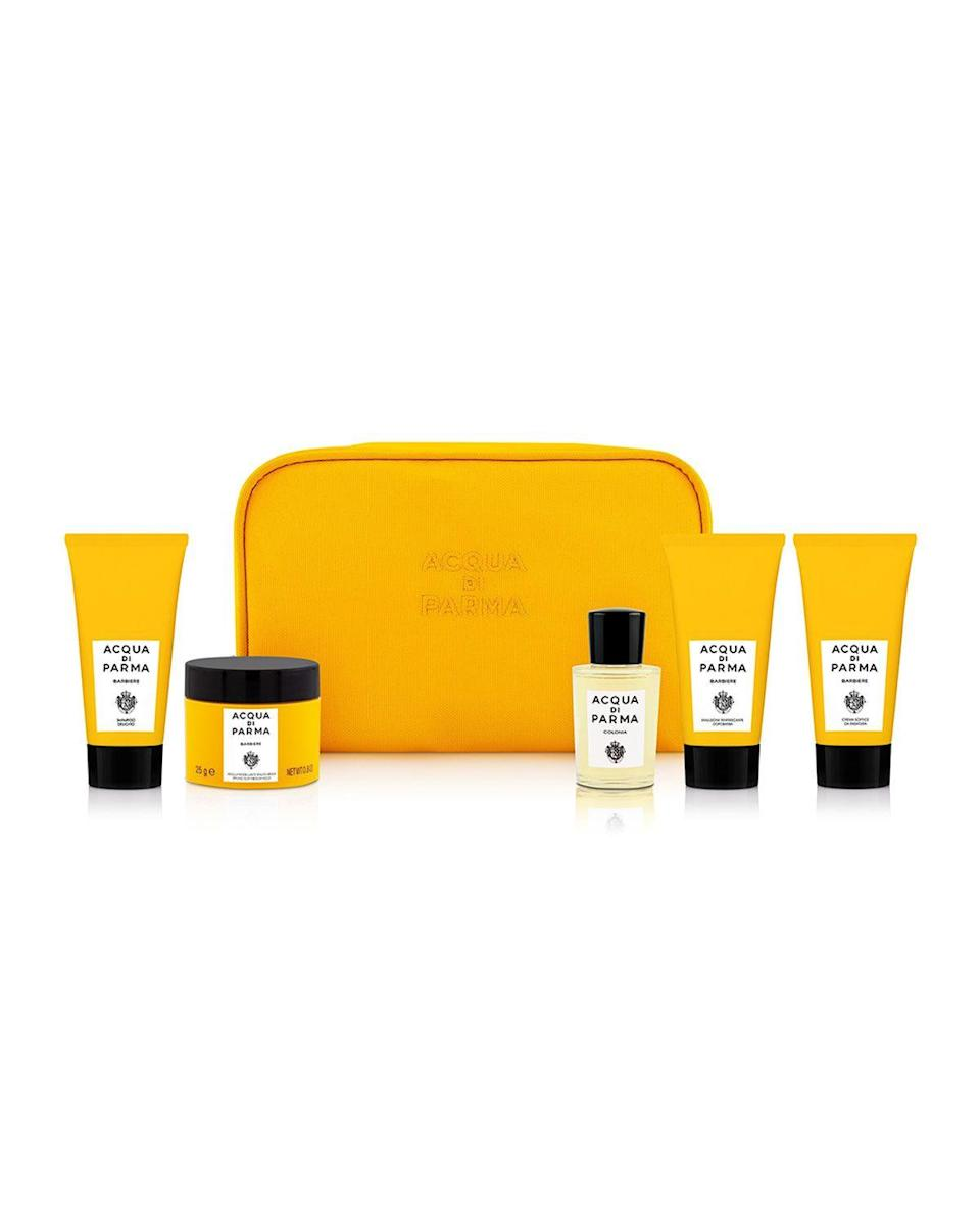 "<p><strong>Acqua di Parma</strong></p><p>neimanmarcus.com</p><p><strong>$130.00</strong></p><p><a href=""https://go.redirectingat.com?id=74968X1596630&url=https%3A%2F%2Fwww.neimanmarcus.com%2Fp%2Facqua-di-parma-barbiere-hair-care-set-prod236550041&sref=https%3A%2F%2Fwww.esquire.com%2Fstyle%2Fgrooming%2Fg34444469%2F8-next-level-grooming-gifts-for-the-guy-who-thinks-he-has-it-all%2F"" rel=""nofollow noopener"" target=""_blank"" data-ylk=""slk:SHOP NOW"" class=""link rapid-noclick-resp"">SHOP NOW</a></p><p>This set contains tools for great-looking hair that will smell even better: a gentle shampoo and flexible styling clay. It also includes fancy-feeling shaving products with the same citrus and woody scent.</p>"