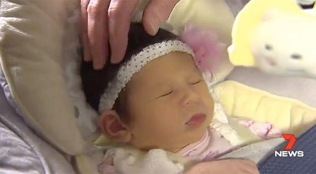 Baby Scarlett was born on the same day as her mum and grandma. Photo: 7 News