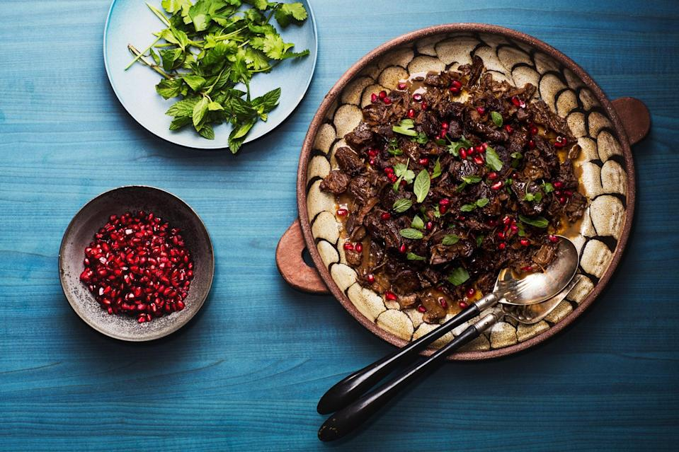 """Boneless lamb shoulder simmers with tangy pomegranate juice, chicken broth, and fragrant spices in this easy take on the Berber dish. <a href=""""https://www.epicurious.com/recipes/food/views/easy-lamb-tagine-with-pomegranate?mbid=synd_yahoo_rss"""" rel=""""nofollow noopener"""" target=""""_blank"""" data-ylk=""""slk:See recipe."""" class=""""link rapid-noclick-resp"""">See recipe.</a>"""
