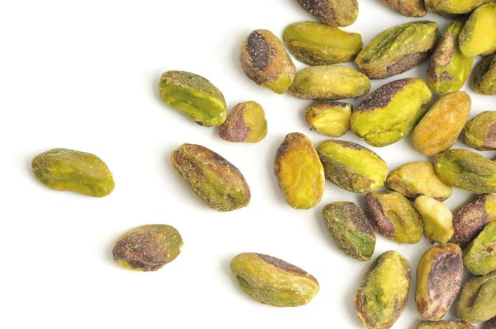 <p>Nuts in general are full of plant-based healthy protein and fiber, but calories can certainly add up. The shelled or no shells varieties are really easy to grab a handful and eat a bit too quickly. </p>