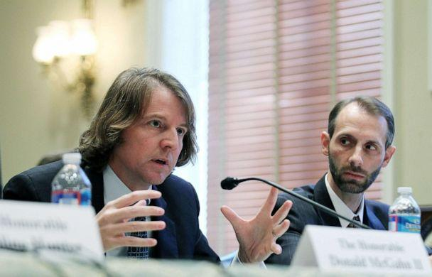PHOTO: Federal Election Commission (FEC) Commissioners Donald McGahn II (L), and Matthew Petersen (R) testify during a hearing before the Elections Subcommittee of House Committee on House Administration, Nov. 3, 2011, on Capitol Hill. (Alex Wong/Getty Images)