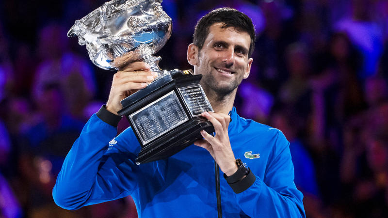 Novak Djokovic is pictured after winning the men's singles at the 2019 Australian Open.