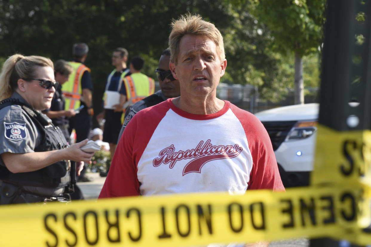 Jeff Flake after the baseball field shooting in Alexandria, Va., on June 14. (Photo: Kevin S. Vineys/AP)