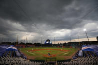 Strorm clouds approach during the fourth inning of a baseball game between the Toronto Blue Jays and the Tampa Bay Rays, Saturday, Aug. 15, 2020, in Buffalo, N.Y. (AP Photo/Jeffrey T. Barnes)