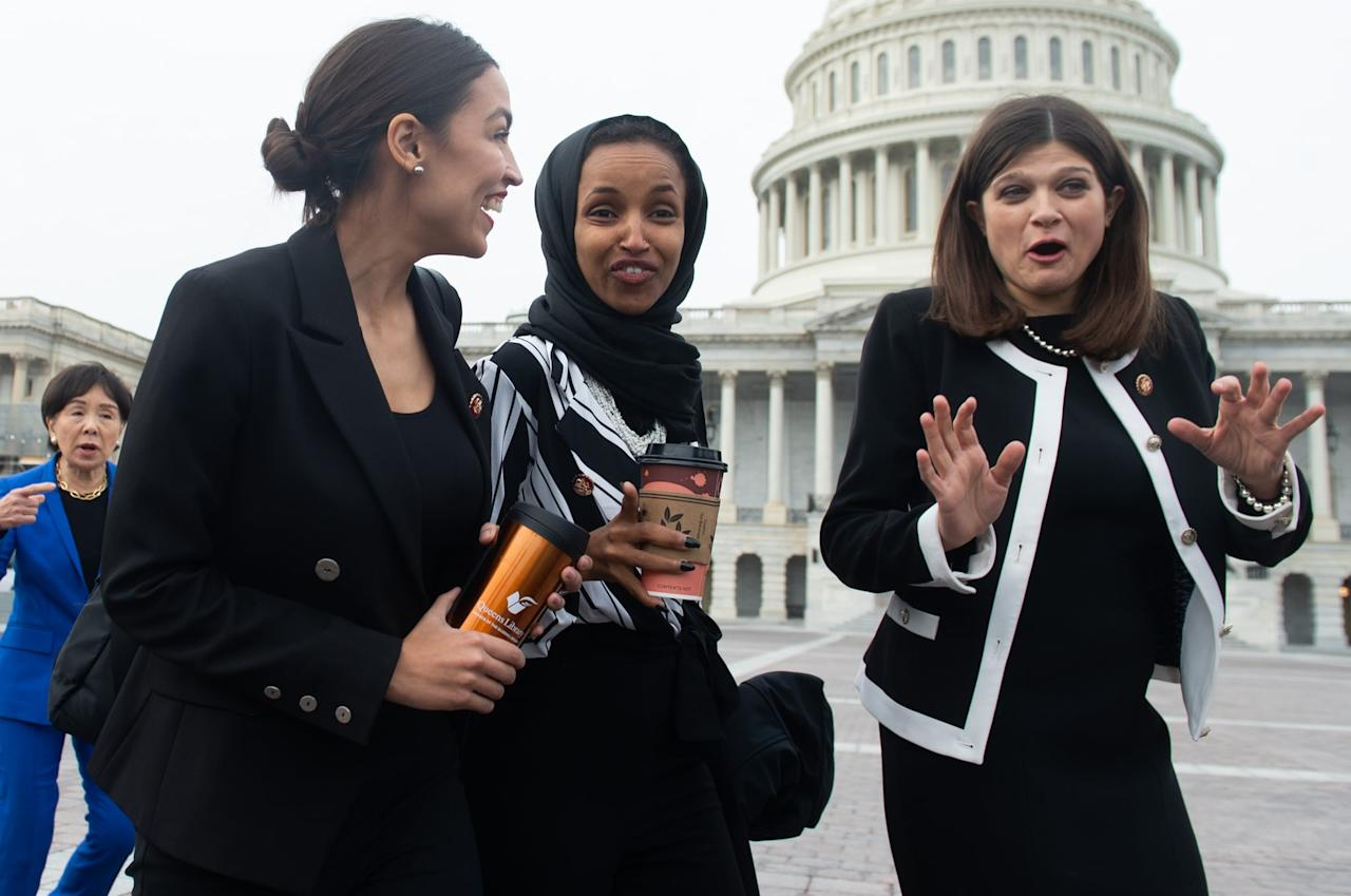 <p>Alexandria stepped out in a black suit for a photo opportunity with the female Democratic members of the House on Jan. 4, 2019.</p>
