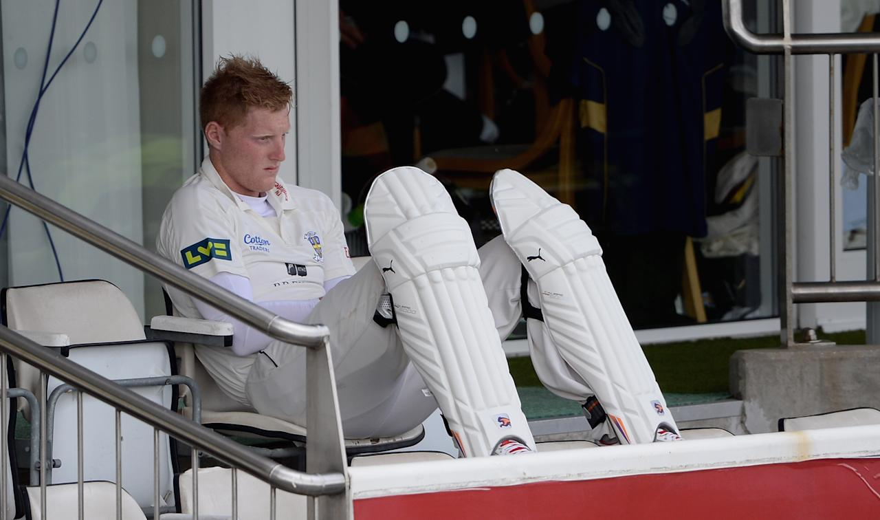 CHESTER-LE-STREET, ENGLAND - APRIL 24:  Ben Stokes of Durham waits to bat during day one of the LV County Championship division one match between Durham and Yorkshire at The Riverside on April 24, 2013 in Chester-le-Street, England. (Photo by Gareth Copley/Getty Images)