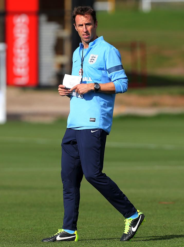 England's U21 Manager Gareth Southgate, during a training session at St George's Park, Burton.
