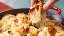 """<p>Could you say no to garlic knots stuffed with mozzarella and pepperoni? Answer = nope.<br></p><p>Get the recipe from <a href=""""https://www.countryliving.com/cooking/recipes/a49422/pizza-knots-recipe/"""" rel=""""nofollow noopener"""" target=""""_blank"""" data-ylk=""""slk:Delish"""" class=""""link rapid-noclick-resp"""">Delish</a>.</p>"""