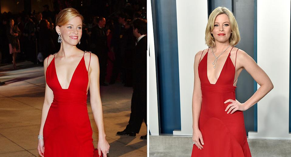 The actor rewore a Badgley Mischka dress for this year's Oscars that she had previously worn for the Vanity Fair Oscars party back in 2004 – removing the jewellery strap but keeping the dress otherwise the same. (Getty Images)