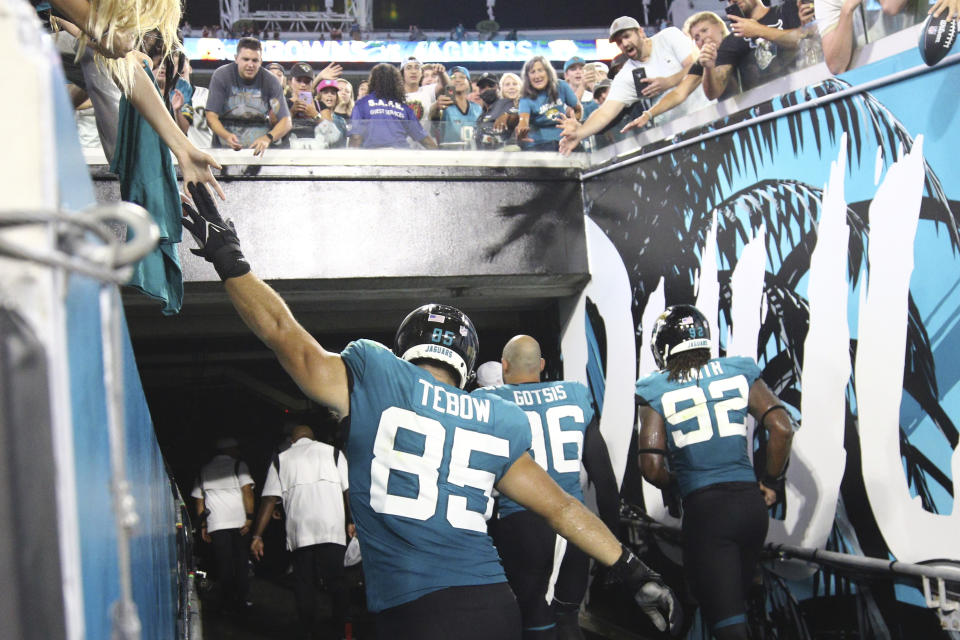 Tim Tebow has been cut by the Jacksonville Jaguars after one preseason game. (AP Photo/Stephen B. Morton)