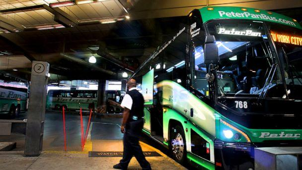 PHOTO: A Peter Pan bus awaits a departure to New York at the South Station bus terminal in Boston, Nov. 1, 2017. (Lane Turner/Boston Globe via Getty Images, FILE)