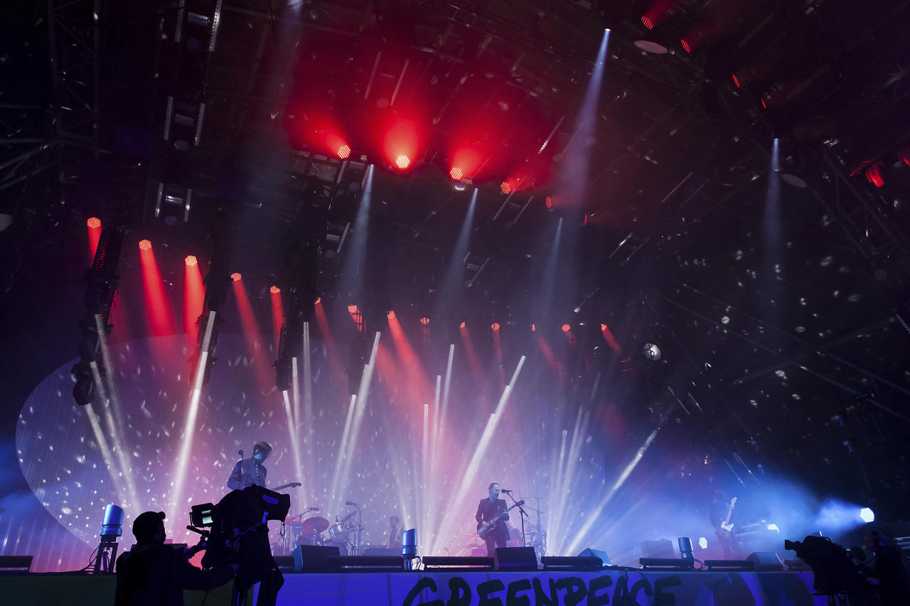Radiohead headline the 'Pyramid Stage' at the Glastonbury music festival at Worthy Farm, in Somerset, England, Friday, June 23, 2017. (Photo by Grant Pollard/Invision/AP)
