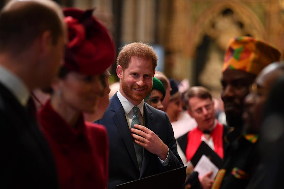 LONDON, ENGLAND - MARCH 09:  Prince Harry, Duke of Sussex (C) is introduced to performers as he leaves after attending the Commonwealth Day Service 2020 on March 9, 2020 in London, England. (Photo by Ben Stansall-WPA Pool/Getty Images)