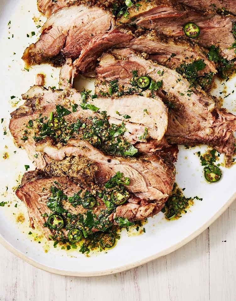 """<p>This sauce will add just the right amount of spiced garlicky herb heaven.</p><p>Get the recipe from <a href=""""https://www.delish.com/cooking/recipe-ideas/a29504585/slow-cooker-pork-shoulder-recipe/"""" target=""""_blank"""">Delish</a>.</p>"""