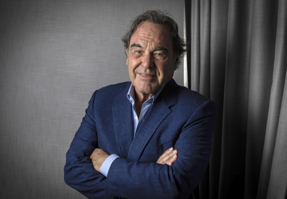 Oliver Stone poses for portrait photographs for the film 'JFK Revisited: Through the Looking Glass', at the 74th international film festival, Cannes, southern France, Sunday, July 11, 2021. (Photo by Vianney Le Caer/Invision/AP)