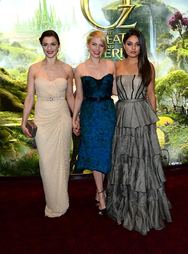 Rachel Weisz, Michelle Williams and Mila Kunis attend Walt Disney Pictures European Premiere of 'Oz: The Great And Powerful' at the Empire Leicester Square in London on Thursday, Feb. 28, 2013. (Jon Furniss/Invision for Disney/AP)