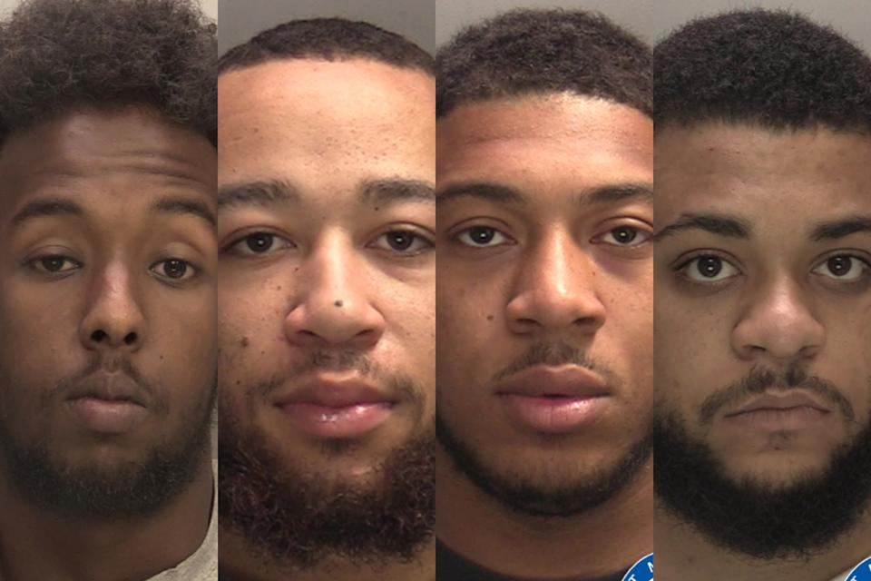 Four men jailed for total of 113 years for involvement in horrifying drive-by shooting murder. (SWNS)