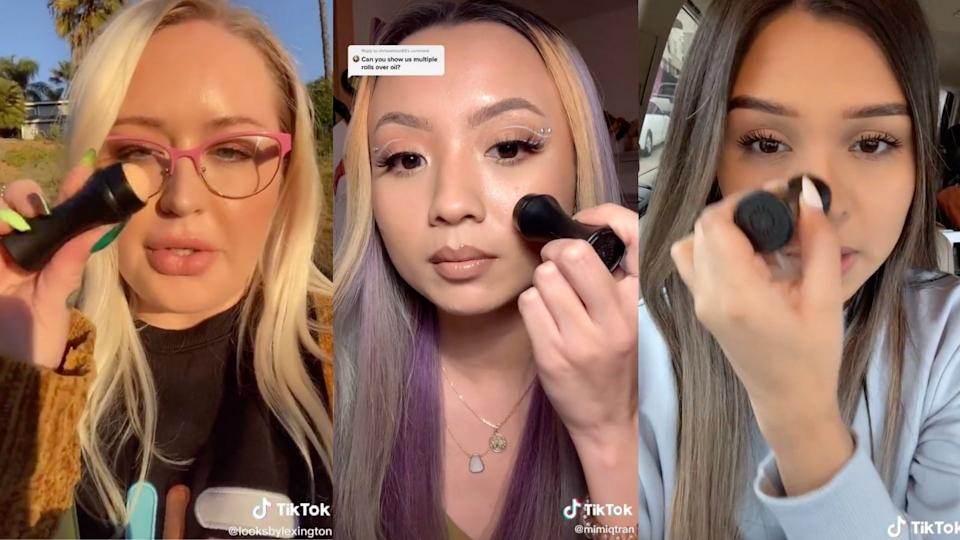 The Revlon Oil-Absobing Volcanic Roller as seen on TikTok - (Images via TikTok/LooksByLexington/MimiQTran/Jessligriffn)