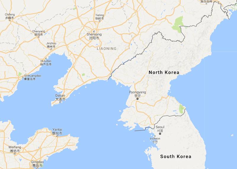 North Korea China border map