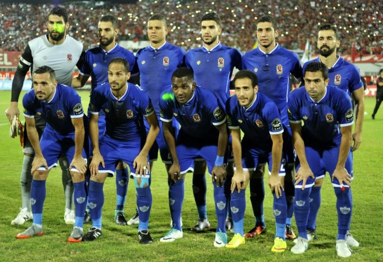 Egypt's Al Ahly players pose for a photo prior to the start of the CAF Champions League semi-final 1st leg match against Etoile Sahel, at the Olympic Stadium in Sousse, on October 1, 2017
